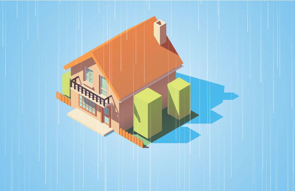 Casa con lluvia