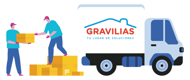 Personas enviando paquetes de artículos para el hogar y construcción - Ferretería Las Gravilias